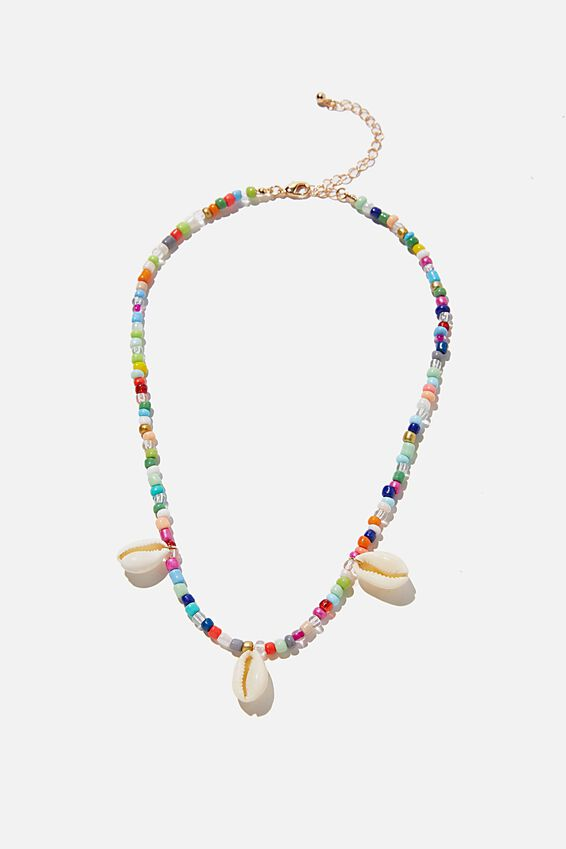 Holiday Statement Necklace, RAINBOW & SHELL