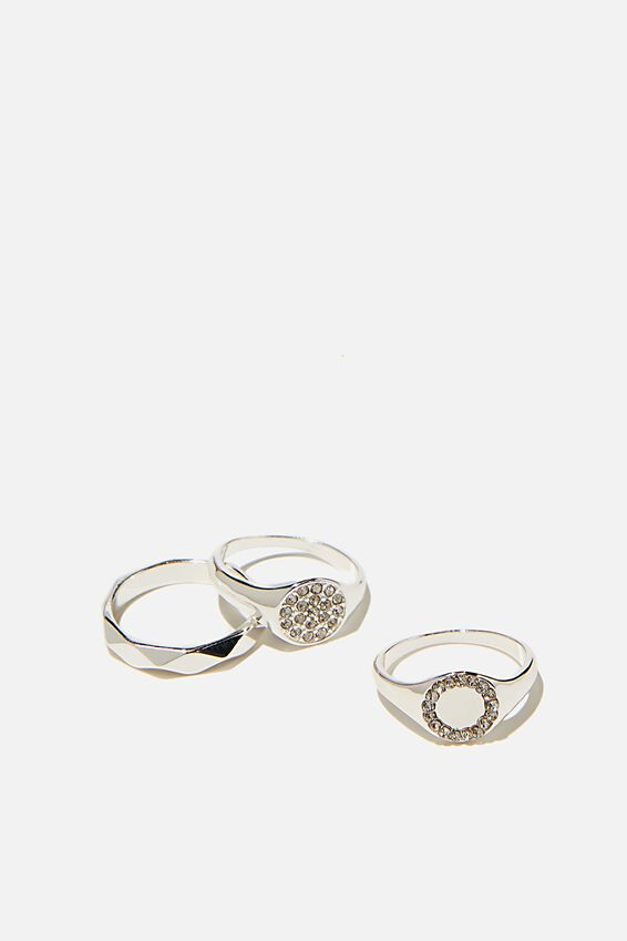 Brighter Days Ring Set, PAVE SILVER