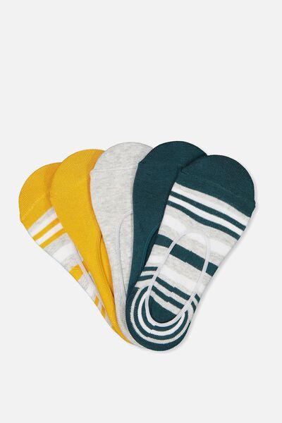 5Pk Low Cut Sock, TEAL/SUNFLOWER STRIPE