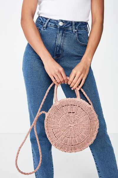 Summer Love Woven Circle Bag, BLUSH