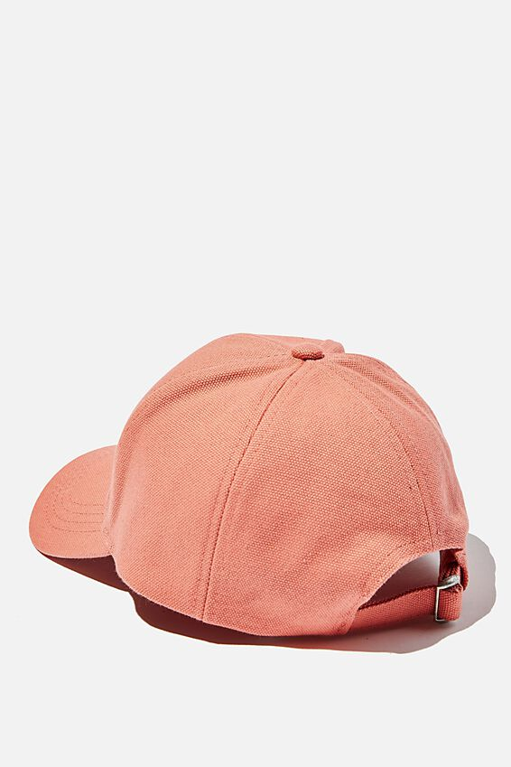 Hailey Structured Cap, CORAL CANVAS
