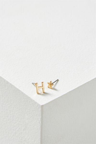 Alpha Stud Earring, GOLD - H