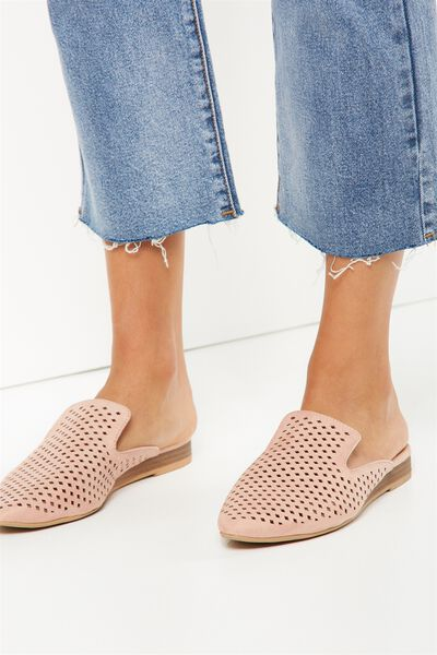Leon Slipper Mule, DARK BLUSH LASER CUT