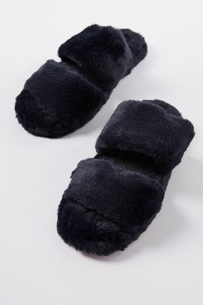 Double Strap Fluff Slipper, NAVY BABY
