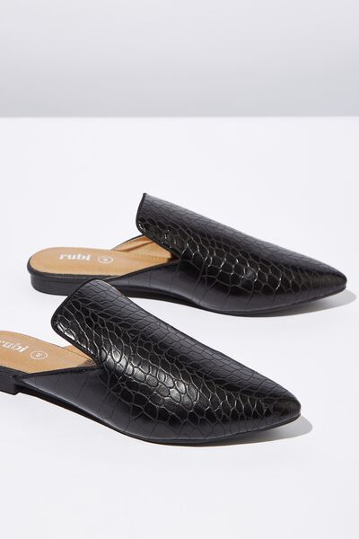 Souk Pointed Slipper Mule, BLACK CROC PU