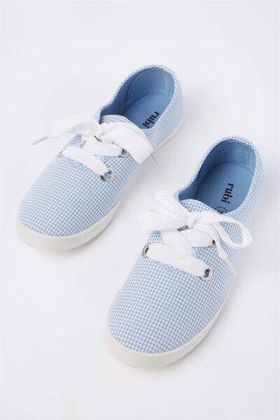 Indy Bow Plimsoll, BLUE GINGHAM