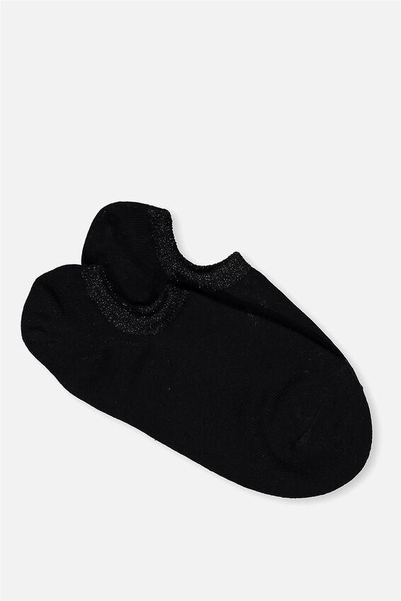 Sports Low Cut Sock, BLACK SPARKLE WELT