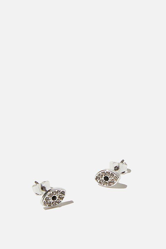 Premium Stud Earrings, EVIL EYE SILVER
