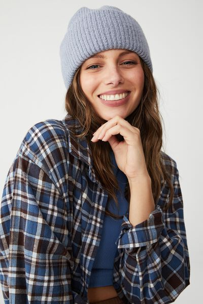 Racquel Ribbed Beanie, NEW WAVE BLUE