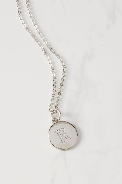 Letter Flat Pendant Necklace, SILVER - R