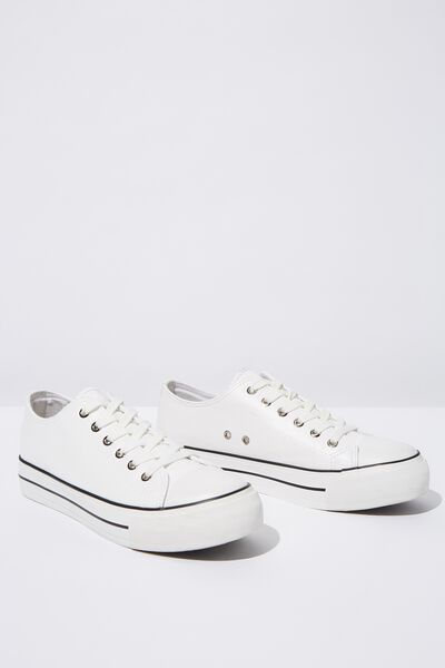 Platform Jodi Low Rise Sneaker, WHITE PU