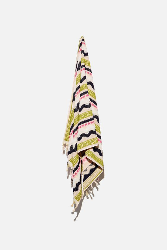 Cable Beach Towel, NAVY WAVES