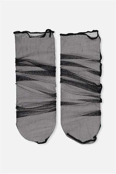Sienna Slouchy Sheer Sock, BLACK