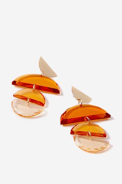 Montego Ethnic Earring, TINTED AMBER/GOLD