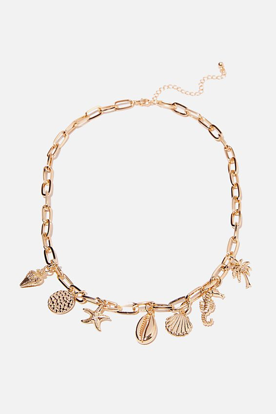 Holiday Statement Necklace, SEA CHARMS GOLD