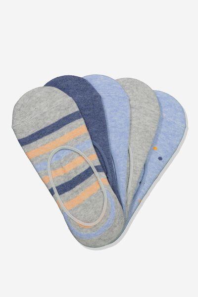 5Pk Low Cut Sock, BLUES SPOT