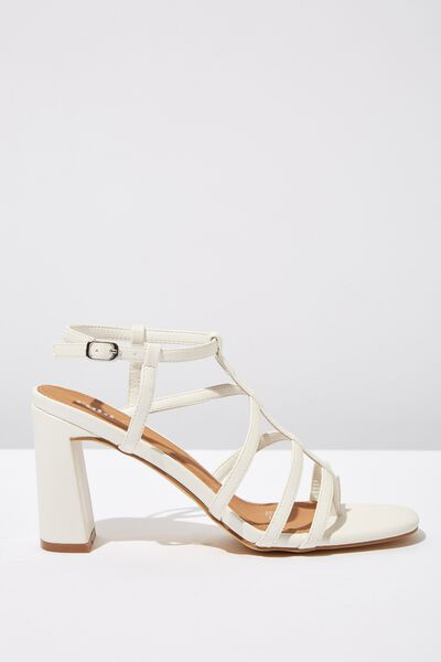 Farrah Strappy Toe Post Heel, OFF WHITE SMOOTH