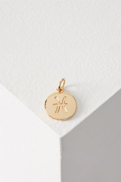 Zodiac Charm, GOLD PISCES