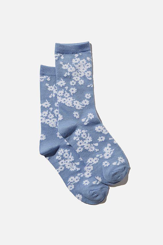 Carrie Crew Sock, DUSK BLUE/ DITSY