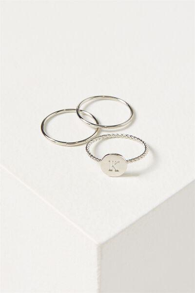 Letter Pendant Ring, SILVER - K