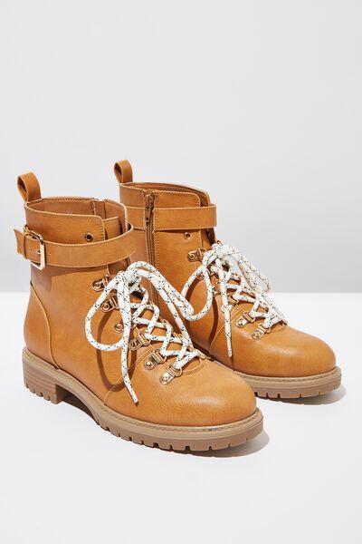 Hariette Lace Up Boot, TAN NUBUCK PU