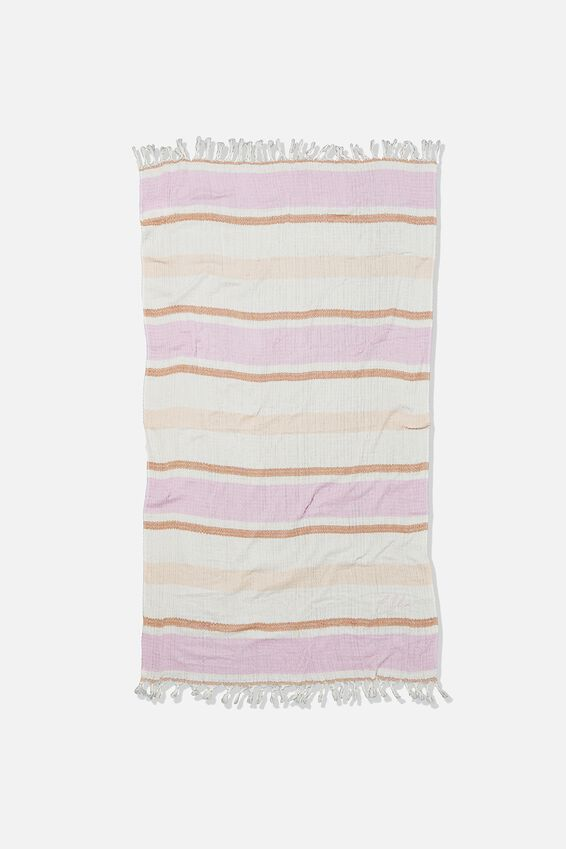 Personalised Coogee Lightweight Towel, LILAC DECK CHAIR STRIPE