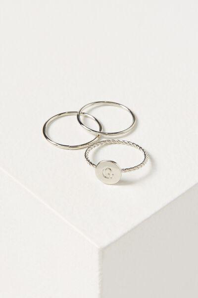 Letter Pendant Ring, SILVER - G