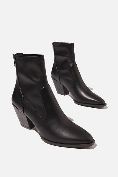 Stassi Western Sock Boot, BLACK SMOOTH