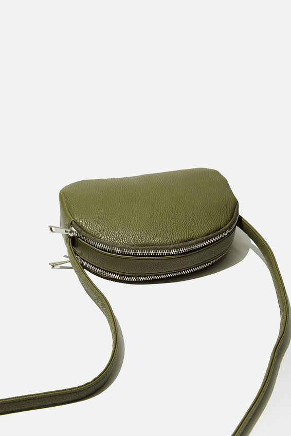 Double Zip Half Moon Bag, KHAKI