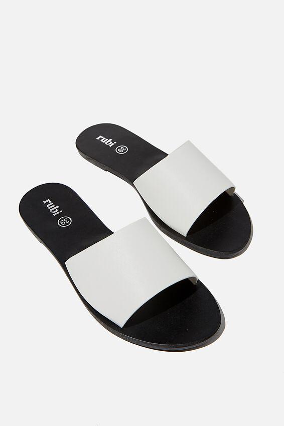 Carrie Minimal Slide, WHITE PU/BLACK
