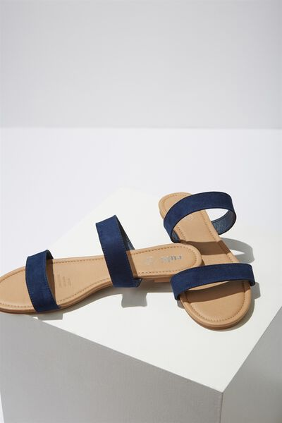 Everyday Double Thin Strap Slide, NAVY MICRO