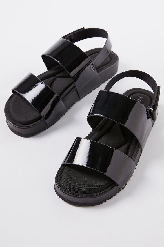 Olivia Double Strap Slingback, BLACK PATENT PU