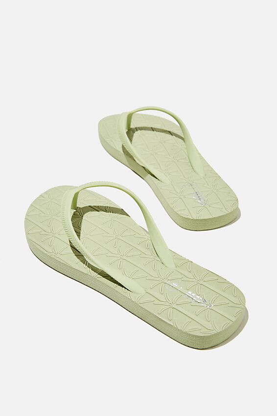The Rubi Flip Flop, SOFT GREEN PALM EMBOSSED