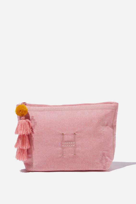 Large Pouch, PINK EMBROIDERY
