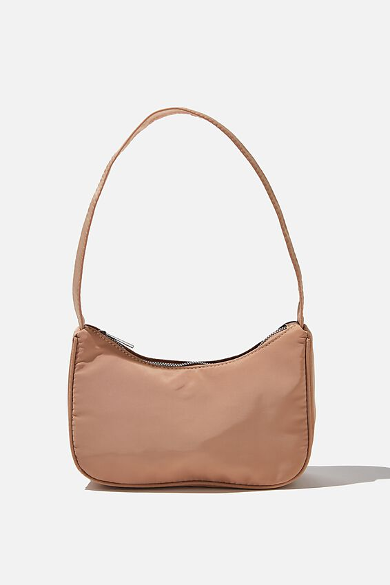 Nylon Underarm Bag, BROWN TAUPE
