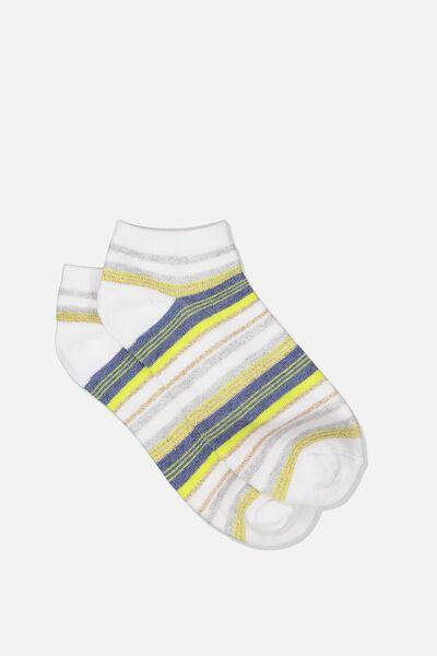 Get Shorty Ankle Sock, LIMEADE STRIPE
