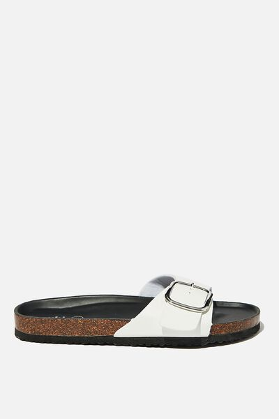 Rex Oversized Single Buckle Slide, WHITE PU
