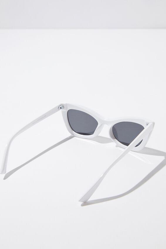 Tara Cateye Sunglass, WHITE