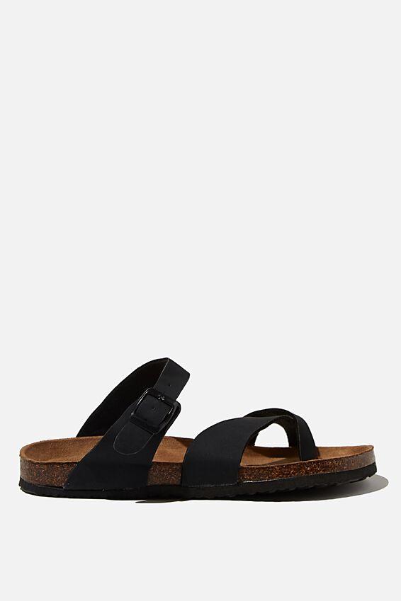 Rex Soft Toe Loop Slide, BLACK NUBUCK