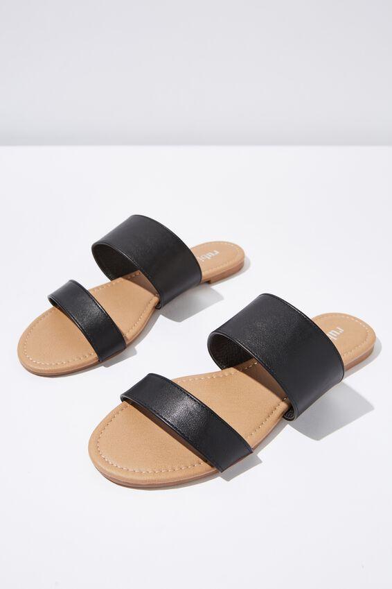 Everyday Twin Strap Slide, BLACK PU