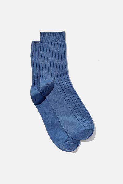 Slinky Ribbed Sock, COASTAL BLUE