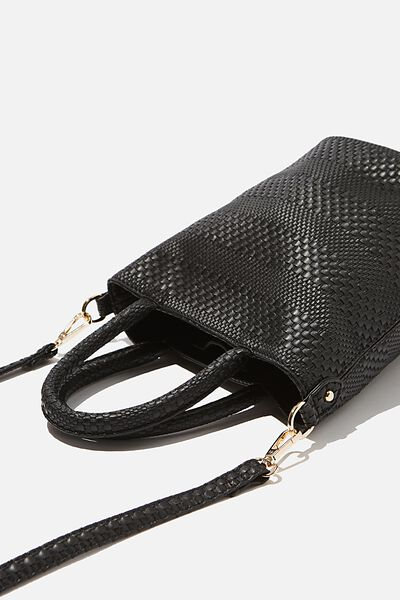 Woven Texture Bucket Bag, BLACK
