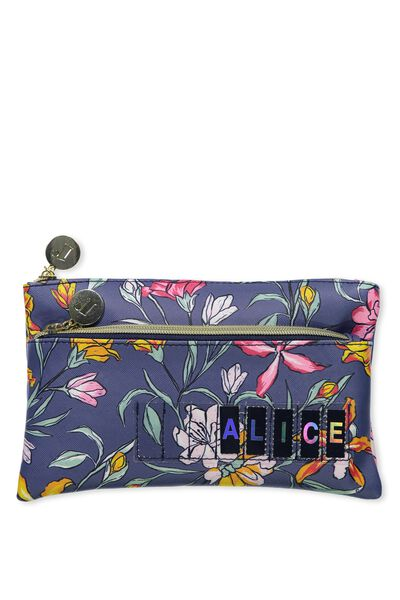 Personalised Dual Zip Cosmetic Case, TROPICAL BOUQUET-MOONLIGHT