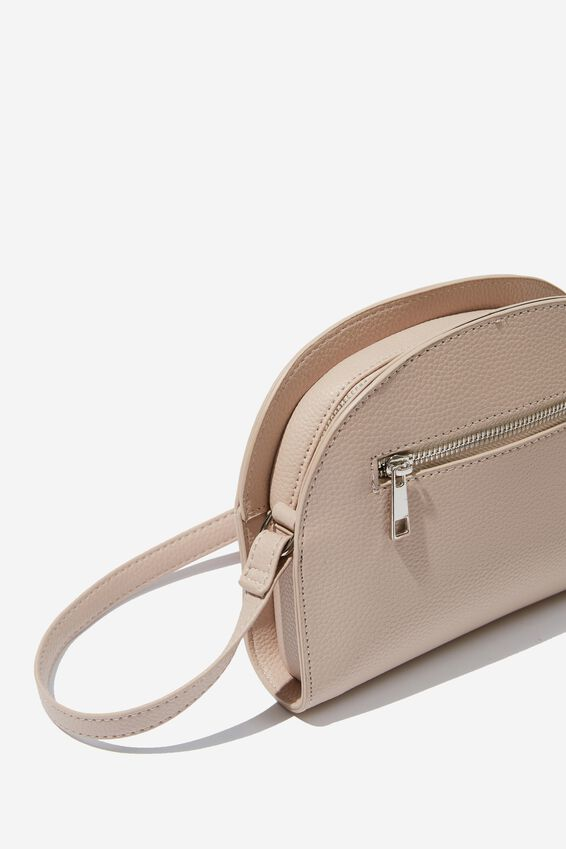 Graceful Half Moon Cross Body Bag, CLAY