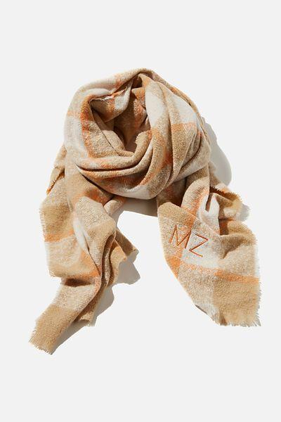 Personalised Brady Blanket Scarf, WARM STONE BEC CHECK
