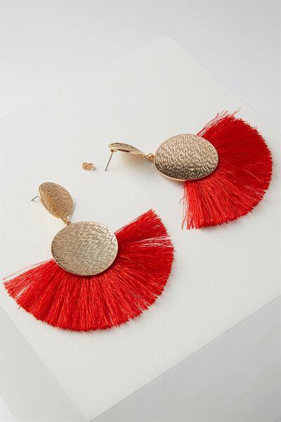 Metal Fan Tassel Earring, RED/GOLD