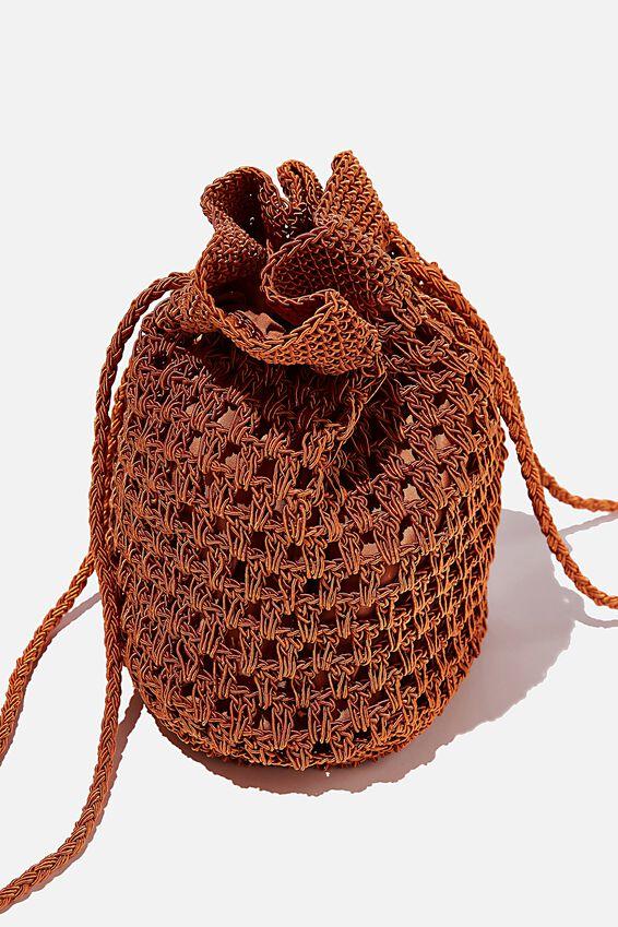 Macrame Knit Bucket Bag, CHUTNEY