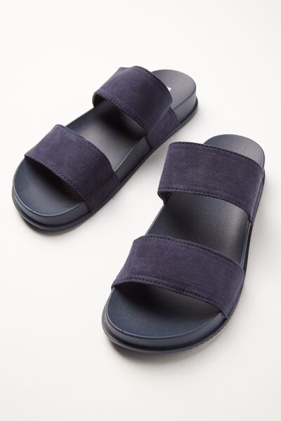 Baillie Double Strap Slide, NAVY MICRO