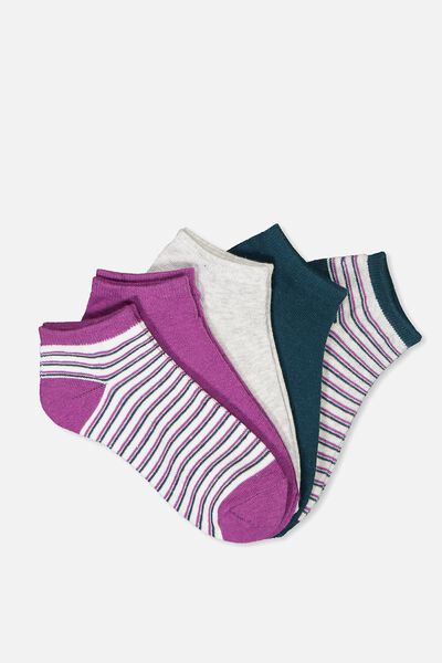 5Pk Ankle Sock, TEAL/CLOVER STRIPE