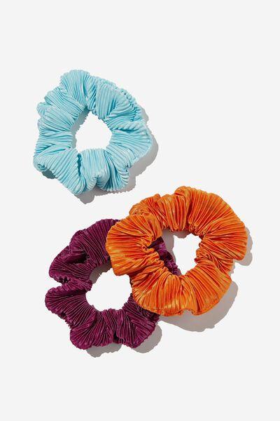 3Pk Scrunchies, PLISSE BLUE POP
